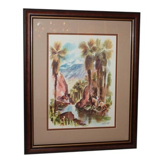 Signed C. Macourlard Watercolor of Southern California