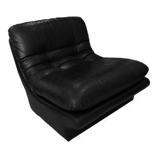 Vladimir Kagan Design for Preview Furniture Black Leather Sculptural Lounge Chair