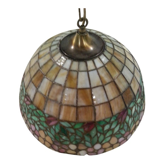 Antique Tiffany Hanging Lamp Value: Antique Tiffany Style Leaded Art Glass Hanging Lamp