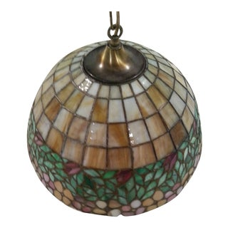 Antique Tiffany Style Leaded Art Glass Hanging Lamp