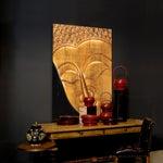 Image of Sarreid LTD Gilt Buddha Head Paneled Plaque
