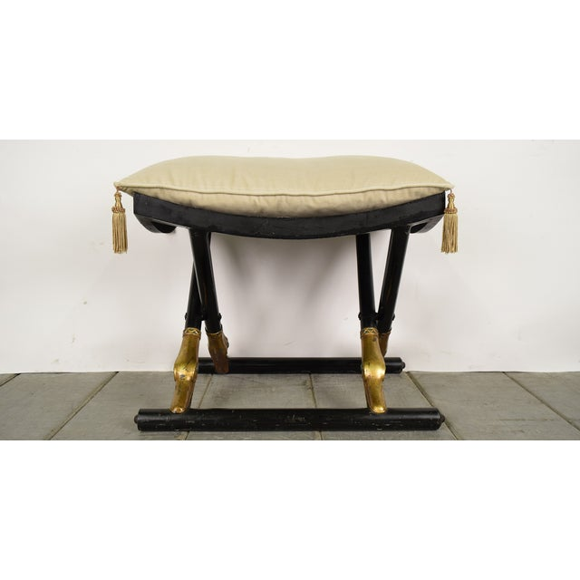 Image of 1930's Antique Empire-Style X-Pedestal Metal Bench