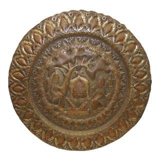 Large Vintage Reposé Round Indian Decorative Tray