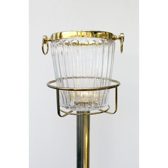 Image of Vintage Standing Champagne Bucket, Brass & Glass