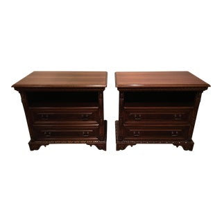 Giemme 15th Century Carved Walnut Nightstands - A Pair