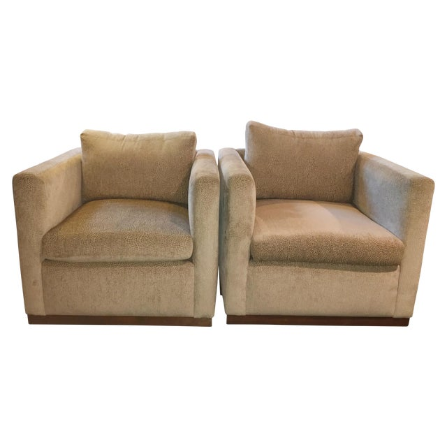 Image of Contemporary Off-White Down Club Chairs - Pair