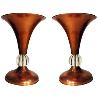 Pair of Copper Mid-Century Half Glass Torchiere Table Lamps