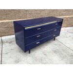 Image of Mid-Century Brass & Blue Credenza