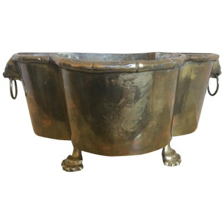 Art Deco Lion's Head Brass Planter - Heavy, Solid