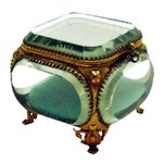 Image of Vintage French Beveled Mirrored Glass & Ormolu Box