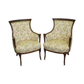 1940s Regency Style Mahogany Frame Side Chairs - A Pair