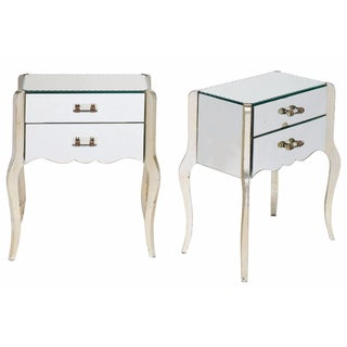 French Art Deco Mirrored Side Tables -  A Pair