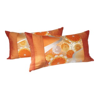 Vintage Orange Japanese Obi Pillows - A Pair