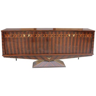 Fantastic French Art Deco Macassar Ebony Sideboard / Buffet Very Unique Pedestal Base Circa 1940s.