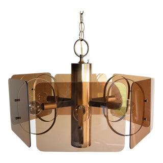Mid Century Brass & Smoked Panel Pendant Light