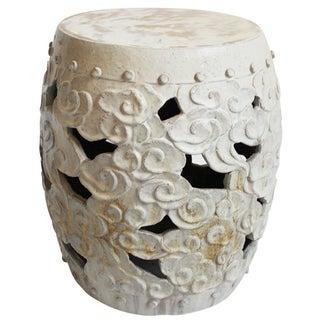 Barrel Form White Ceramic Garden Stool
