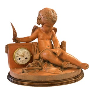 French Terracotta Cherub Mantle Clock