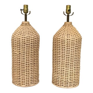 Natural Wicker Table Lamps - A Pair