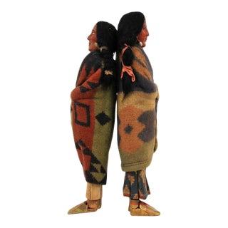 Pair of Large Native American Skookum Dolls