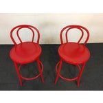 Image of Contemporary Red Metal Bar Stools - A Pair