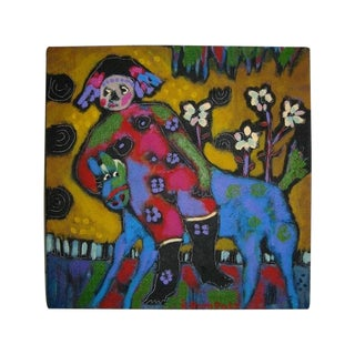 Girl & Horse Southwest Folk Art Painting