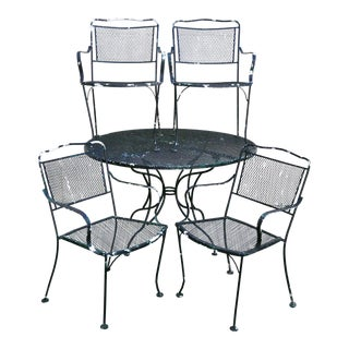 Vintage Wrought Iron Outdoor Patio Set - Set of 5