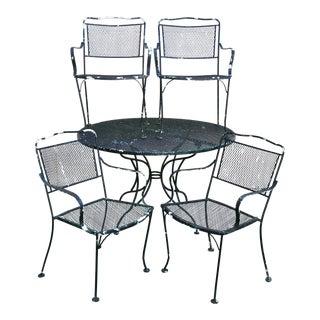 Vintage Wrought Iron Outdoor Patio Set - Set of 5