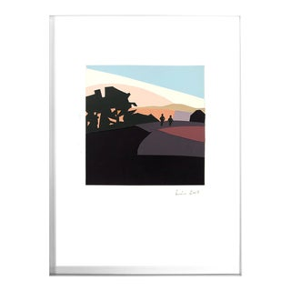 Sunset, Bernal Heights - Original Silk Screened Paper Collage - Framed
