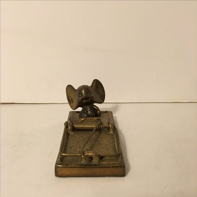 Vintage 1980 Brass Mouse with Trap - Image 3 of 6