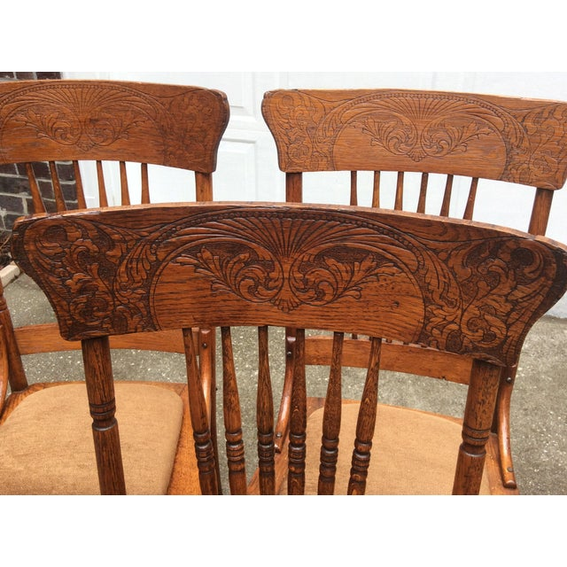 Pressed Oak Chairs ~ Antique pressed oak spindle back chairs set of chairish