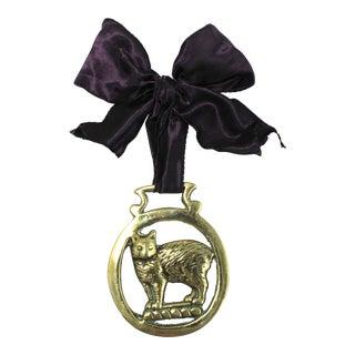 Antique English Horse Brass Cat Ornament