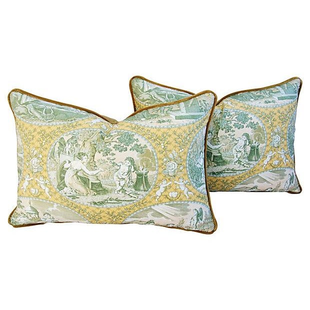 Italian Scalamandre Cupido Toile Pillows - A Pair - Image 1 of 6
