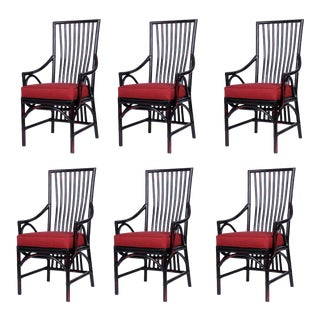 David Francis Ming Aged Chinese Black & Red Dining Chairs - Set of 6