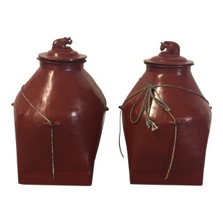 Vintage Lacquered Containers - A Pair