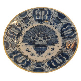 18th C. Delft Peacock Pattern Plate
