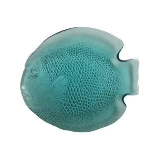 French Turquoise Fish Glass Plates - Set of 10