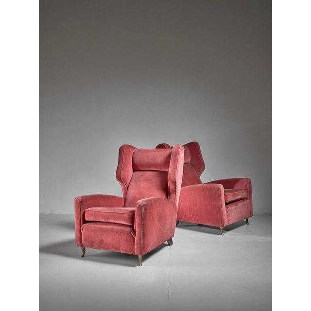 Paolo Buffa Pair of Soft Coral Red Wingback Lounge Chairs, Italy, 1940s - Image 4 of 6