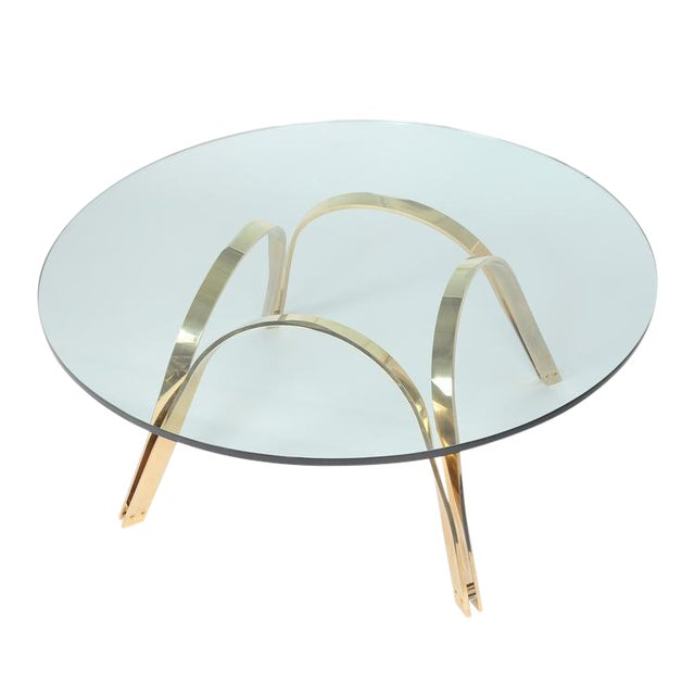 Image of ROGER SPRUNGER-STYLE BRASS AND GLASS COFFEE TABLE BY TRI-MARK