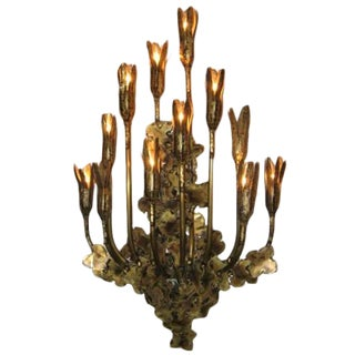 A Large Multi Light Wall Sculpture in Patinated Brass attributed to Curtis Jere