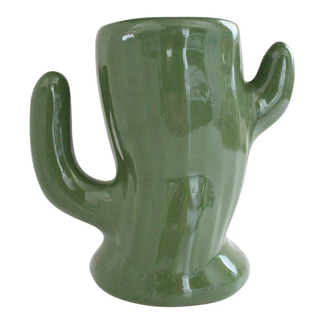Image of Green Ceramic Saguaro Planter