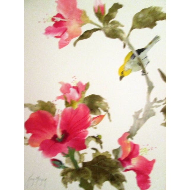 Yellow Sparrow & Pink Hibiscus Watercolor - Image 4 of 7
