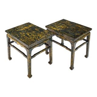 Sarreid Ltd Crackled Blue Eastern Side Tables - a Pair