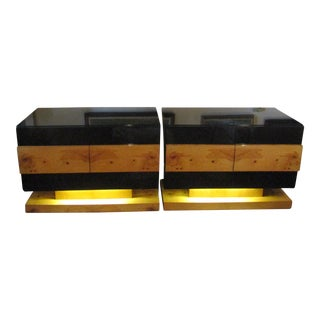 1970's Chic Burl and Black Lacquer Sideboard Cabinets With Lights - a Pair