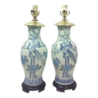 Blue & White Ginger Jar Lamps - Pair