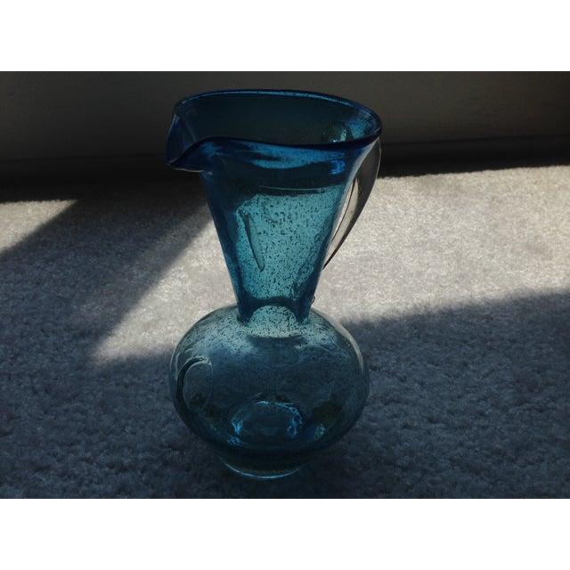 Image of Vintage Pilgrim Cobalt Blue Crackle Glass Pitcher