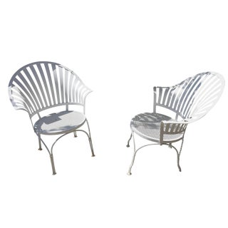 Wrought Iron Fan Chairs - A Pair