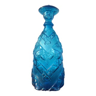 Mid-Century Empoli Blue Glass Decanter