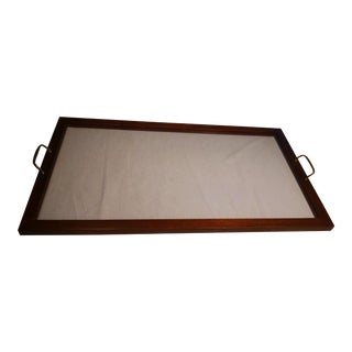Vintage Wood and Glass Framed Serving Tray & Handles