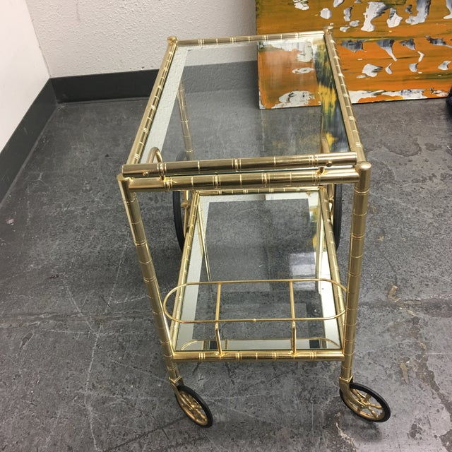 Two Tiered Brass & Glass Bar Cart - Image 4 of 7
