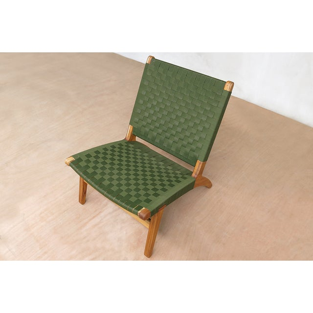Image of Mid-Century Modern Green Nylon Lounge Chair